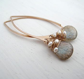 Labradorite Woven Pearl Earrings
