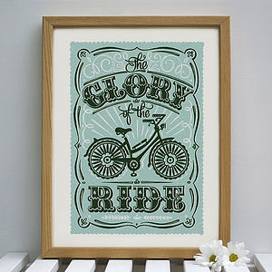 'The Glory Of The Ride' Bicycle Print - prints for christmas