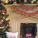 'Merry Christmas' Banner with Embroidered Heart and Love Cushions