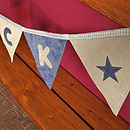Close up of the blue name bunting