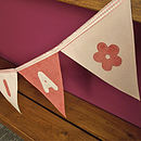 Close up of the pink name bunting