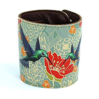 Hummingbirds Leather Cuff