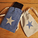 Small drawstring gift bags with blue stars