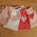 Small drawstring bags with hearts