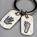 Personalised Handprint Dog Tag Keyring