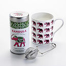 Green Ceylon Loose Leaf Tea with Mug and Infuser