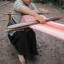 Esther weaving on the back stap loom