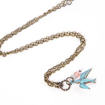 Vintage Style Patina Bird Necklace