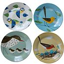 Set Of Four Birdy Inspired Plates