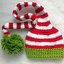 Handmade Green And Red Christmas Elf Hat