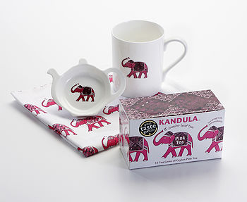 Pink Ceylon Tea with Mug, Tea Saucer and Tea Towel