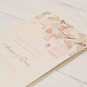 Order Of Service Birdcage Design - wedding stationery