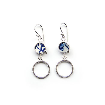 Silver And Pottery Shard Hoop Earrings