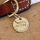 Merry Dogs 2.5 cm brass ID tag - back of tag