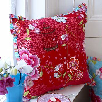PiP Studio Birds of Paradise Cushion Red