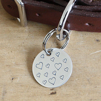 'Hearts' Solid Silver Dog ID Tag, Hand Made