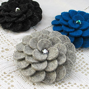 Wool Felt Chrysanthemum Brooch - corsages