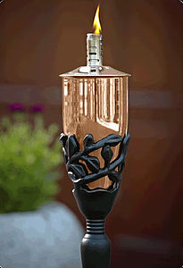 Pair Of Leaf Detail Copper Garden Torches - lights & lanterns