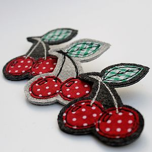 Embroidered Cherry Brooch