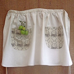 Hand Printed Short Apron - tools & equipment