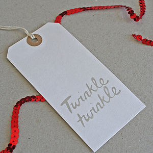 Pack Of Eight 'Twinkle' Christmas Tags