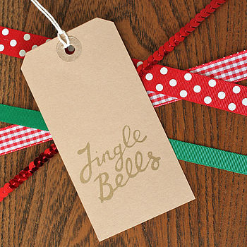 Pack Of Eight 'Jingle Bells' Christmas Tags