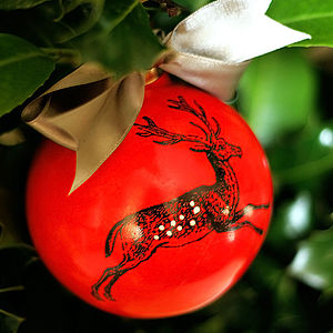 Red Reindeer Christmas Bauble - tree decorations