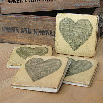 Set Of Four Heart Music Coasters