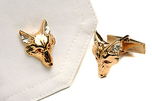 Fox Head Cufflinks With Rubies - men's jewellery