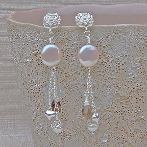 Coin Pearl Silver And Gemstone Earrings