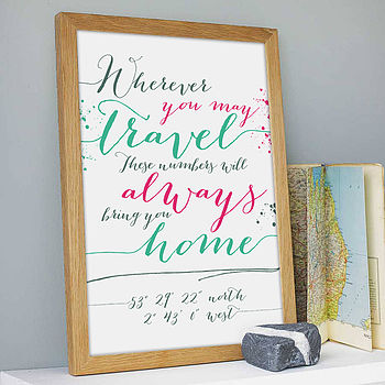 'Wherever…' Personalised Coordinates Print