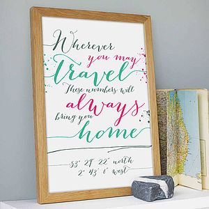 'Wherever…' Personalised Coordinates Print - valentine's gifts for her