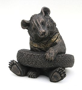 Olly In Tyre Bear Sculpture - art & decorations