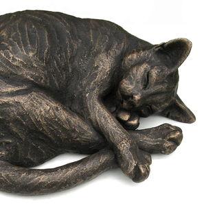 Curled Maxim Sleeping Cat Sculpture - art & decorations