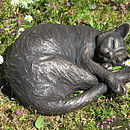 Curled Maxim Sleeping Cat Sculpture
