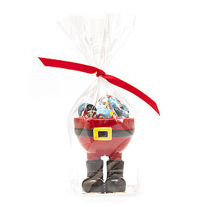 Santa Black Boot Egg Cup With Milk Chocolates - egg cups & cosies