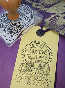 Personalised 'Winter Forest' Christmas Stamp - cards & wrap
