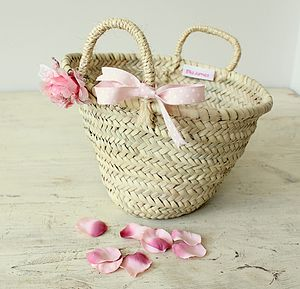 Child's Woven Basket With Flower And Bow - easter egg hunt
