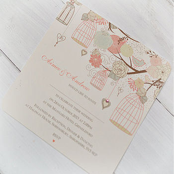 Hanging Vintage Birdcages Invitations