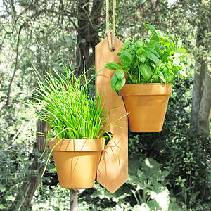 Two Pot Hanging Plant Holder - city garden ideas