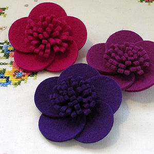 Wool Felt Wild Rose Brooch - pins & brooches