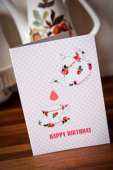Teapot And Teacup Birthday Greeting Card