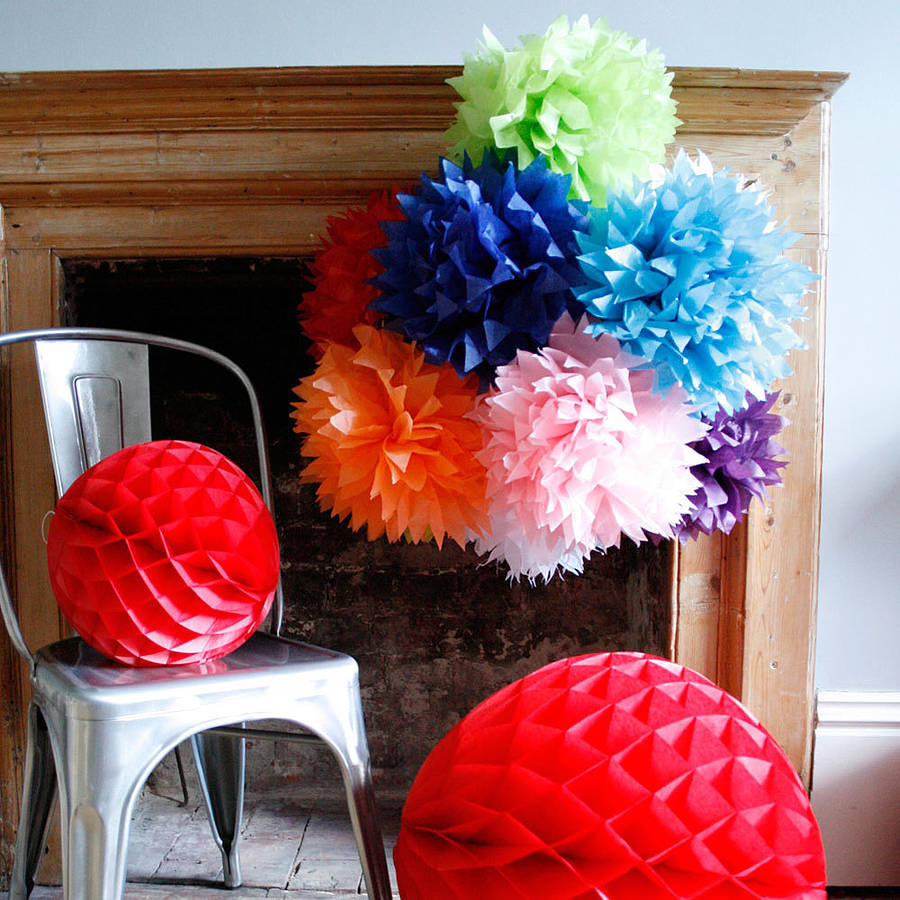 Paper Tissue Fan Christmas Decorations By Pearl And Earl: 35cm Spikey Tissue Paper Pom Poms By Pearl And Earl