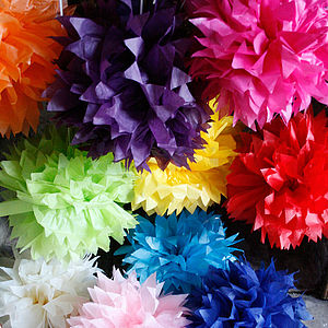 35cm Spikey Tissue Paper Pom Poms - bunting & garlands
