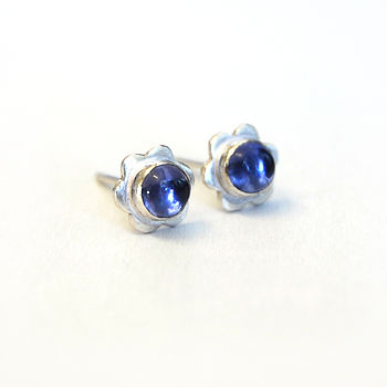 Iolite Gemstone Flower Studs