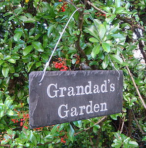 Engraved Slate Grandad's Garden Sign - art & decorations
