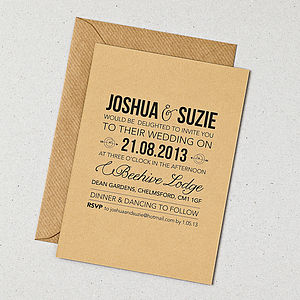 Rustic Style Wedding Invitation - personalised