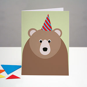Party Bear Birthday Card - birthday cards
