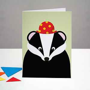 Party Badger Birthday Card - birthday cards