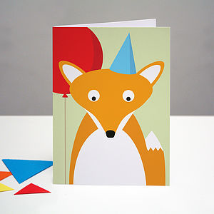 Party Fox Birthday Card - birthday cards